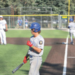 Jaxon Wittmayer goes up to bat after Keagan Campbell gets a free base in a game at Pirtz Field in Billings. Outlook photo by Jackson McMurrey