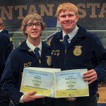 Courtesy photos                        Joliet Seniors Noah Salo and Walker Antilla are shown in Bozeman after taking 1st place in individual categories at the State FFA Convention April 3–6. Salo (left) took first place in Individual Ag Technical and Mechanical Systems and Antilla took first in Individual Livestock Evaluation.