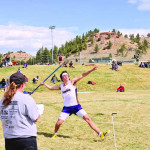 """Jace McNeil at the Colstrip Meet during his 1st place winning throw of 157'2"""". McNeil also took 1st in the javelin at the Laurel #2 Meet with a toss of 142'2"""". Courtesy photo"""