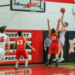 Photo courtesy of Kim Flemmer                        Park City Senior Austin Popp shoots for 2 during Saturday's game against Fromberg. Seniors Connor McNeil                                   (15) and Tristen Johnstone (41) are also pictured. The only senior not pictured is Seth Popp.