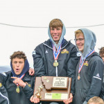 Photo courtesy of Gloria Allwin                        Six Laurel boy track stars holding their first place trophy at divisionals. (from left to right) Beau Dantic, Chris Abell, Levi Taylor, Preston Branstetter, Eli Aby, and Ethan Renner are all individually qualified for the state track meet this weekend in at least one event each.