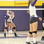 Outlook photo by Connor Waddingham                        Lady Loco's Keeli Harris awaits a serve from the visiting Miles City Cowgirls.