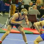 Keagan Campbell (left) is seen scouting his opponent in his second round matchup. Keagan, in his 138 lb. weight class, went on to finish 3rd place overall at MetraPark for the state wrestling tournament last weekend.