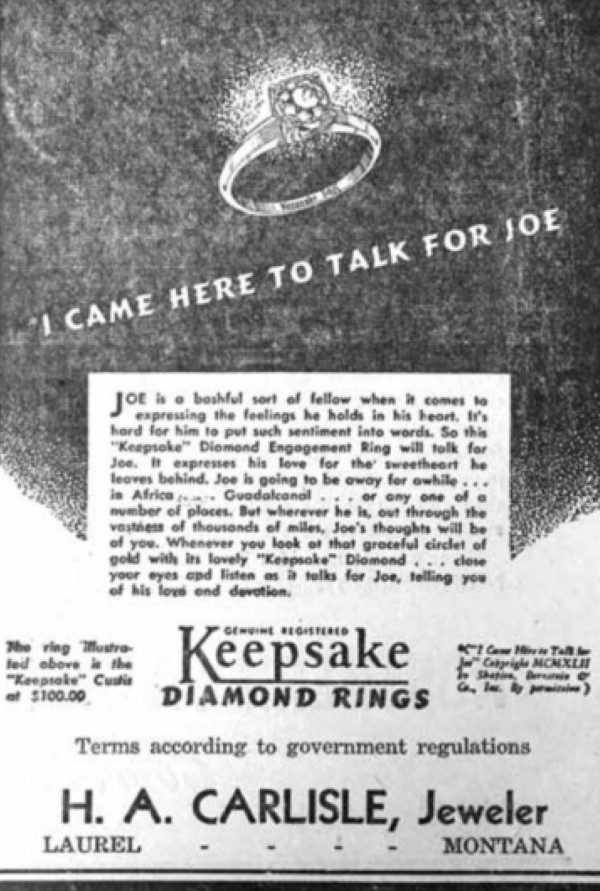 """A diamond ring advertised by Carlisle Jewelry for $100 in the Outlook in 1920 sounds like a deal 100 years later. According to """"Times, Trials and Tribulations of Early Laurel, Montana,"""" by Don Brohaugh, the building housing the jewelry store was the first brick-built building in Laurel."""