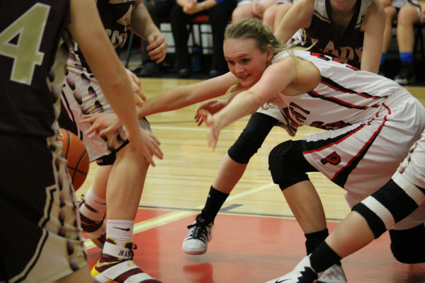 Photos courtesy of Wendy Ray.  Lady Panther Shelby Branstetter fights for the ball.