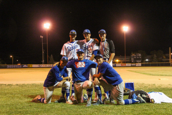 Photo Courtesy of Hailey Maurer. A ceremony for the Laurel Dodgers' outgoing seniors took place at Thompson Park between games on Friday. Dodger seniors from back left are: Chase Feller, Dawson Cortese, Seth Green. Front row, from left: Carson Hoke, Brendan LeClair, Cameron Schriver.