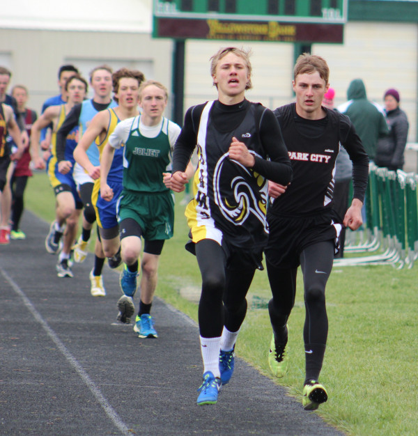 Photo by Kim Flemmer.  Park City senior Brandon Flemmer finished in second place in the 800 meter race at the Park City/Roundup Invitational in Laurel on Tuesday.