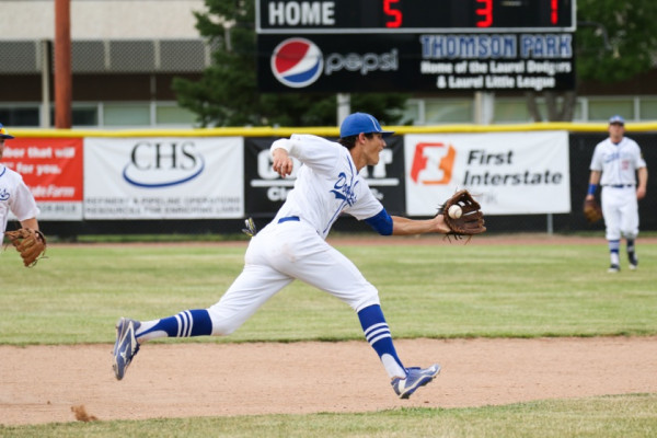 Photo Courtesy of Hailey Maurer.  Dawson Cortese makes a nice play from shortstop during Friday's doubleheader against the Billings Blue Jays. The Dodgers picked up two wins and earned the #1 seed going into the district tournament which starts today in Miles City.