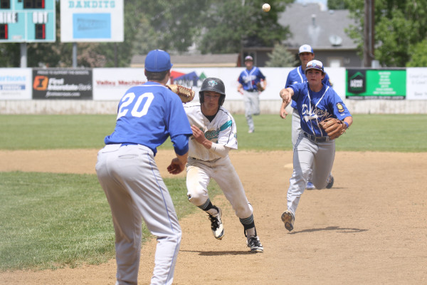 Photo Courtesy of Hailey Maurer. Laurel Dodger first baseman Josh Anderson (#20) prepares to tag a Bandit runner in a recent game in Belgrade.