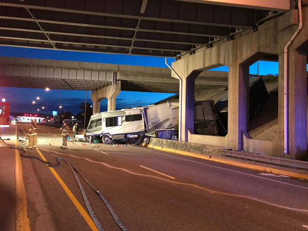 Two West Coast men were seriously injured when their westbound RV left Interstate 90 on the Laurel overpass and crashed into barriers on Highway 212 early Tuesday morning, spilling debris over the highway and closing the northbound lanes for several hours. A 70-year-old California man was driving and had fallen asleep at the wheel. A 46-year-old Washington man was sleeping in the rear of the RV when it crashed around 3:35 a.m.. The California man was taken to Billings Clinic in critical condition. The Washi