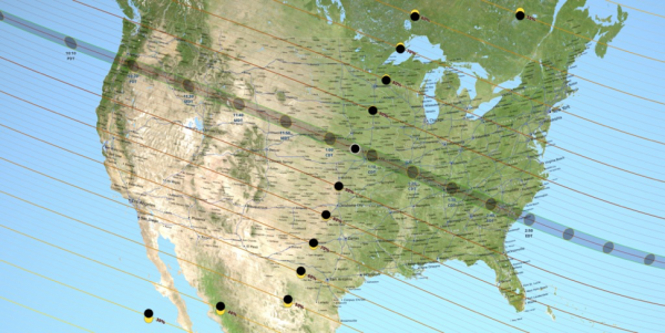 A map of the United States showing the path of totality for the August 21, 2017 total solar eclipse. Image credit: NASA's Scientific Visualization Studio
