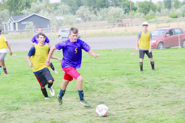 Outlook photo by David Keyes. The Laurel boys soccer team will be home this Friday and Saturday after a successful road trip. This photo was taken during practice last week, prior to their trip to Frenchtown and Missoula.