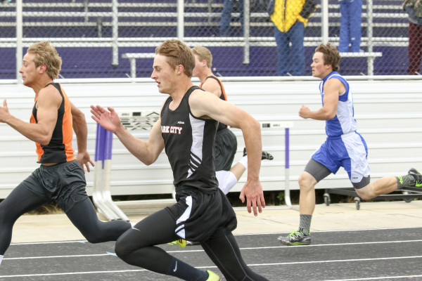 Photo by Evan Bruce.  Park City's Brandon Flemmer placed 1st in the 800m and third in the 100m at the Southern C Divisional track meet in Laurel last week.