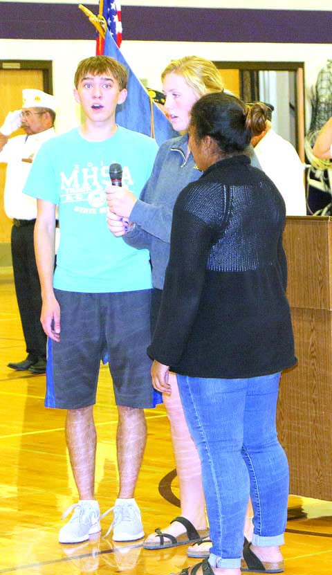 The Laurel High School singers who performed the National Anthem for the Middle School Freedom Shrine rededication on Sept. 11 were Ellie Kildahl, Aly Gaylord and Austin Amestoy. The picture was in last week's edition of the Outlook, but not all the singers were listed.
