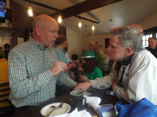 Courtesy photo.  U.S. Congressman-elect Greg Gianforte with the author, Brad Molnar, on St. Patrick's Day in a Billings pub.