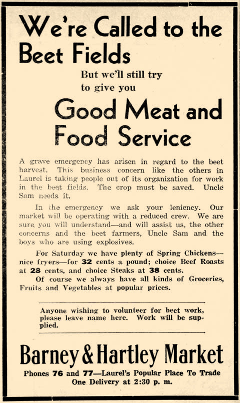 In September 1942, area sugar beet farms faced a labor crisis. Most of the men who had previously worked during harvest had joined the military to fight in WWII or were in otherwise essential positions. Shop keepers and women put aside their normal duties to help with the beet harvest, as this Outlook ad attests.