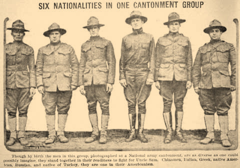 In 1917 a squad of soldiers preparing to to go to war for the United States was made up of Americans of all nationalities.