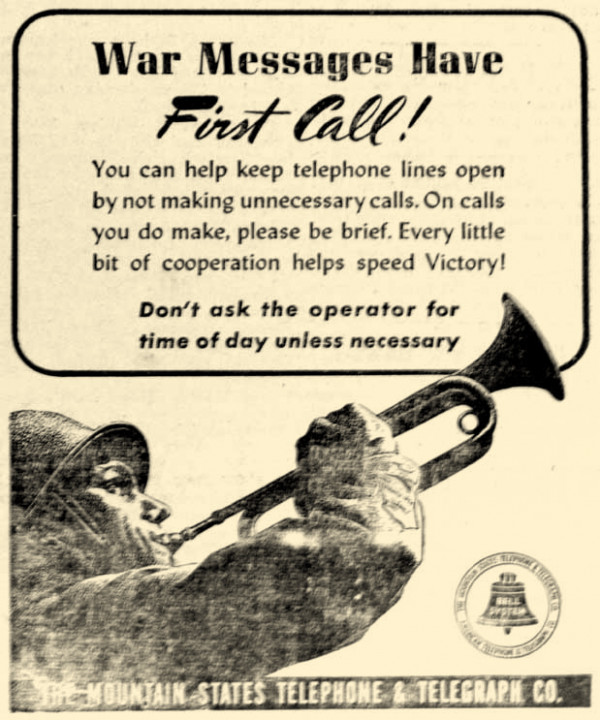 Phone service wasn't sophisticated in 1942. Party lines, or shared lines, meant folks had to cut their calls short if more important messages were to get through.