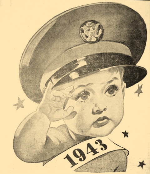 The new year's baby shown on the front page of the final paper for 1942, depicts war in the year ahead.