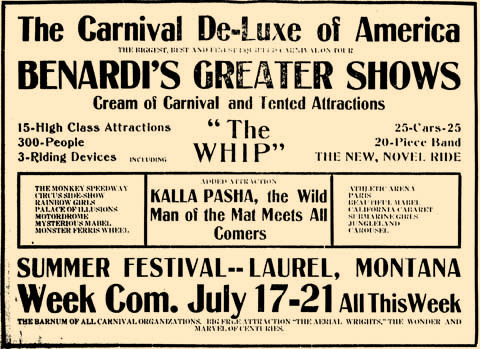 "Just after hosting a week-long chautauqau in Riverside Park in 1917, Laurel residents were treated to The Carvival De-Luxe of America. The carnival had a number of attractions including the new ride, ""The Whip,"" and human attractions of all kind."