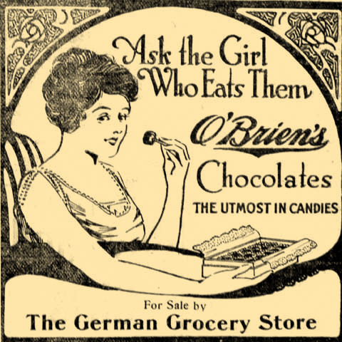 In 1917, The German Grocery Store in Laurel was selling Irish Chocolate.