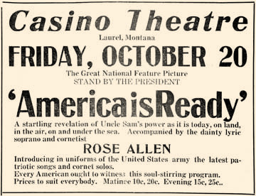 Chatting  during a movie may not have been as rude in 1917 as it is today. As indicated on this ad for the Casino Theatre, the film was accompanied by a soprano and cornetist. Talking pictures wouldn't hit the big screen for 11 more years.