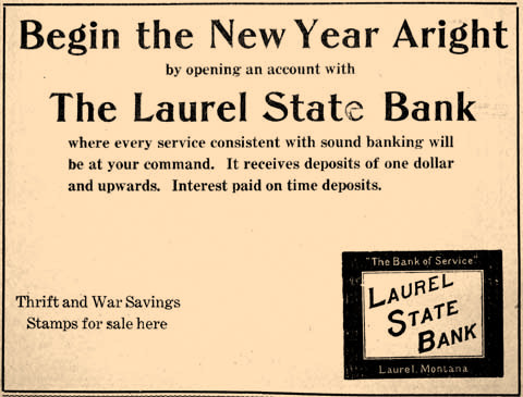 "Laurel State Bank wanted customers to start the year, ""Aright."" The bank also sold War Savings Stamps."