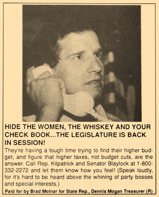 This campaign ad for Brad Molnar from 1992 shows that attacks on lawmakers are nothing new.