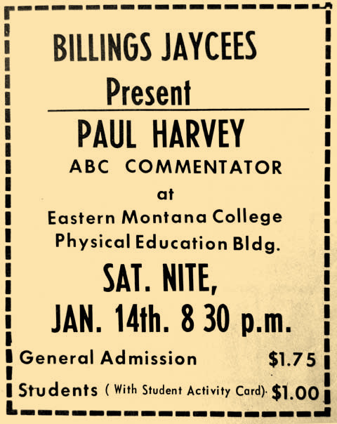 Paul Harvey, a popular radio personality, was making a live performance in 1967.