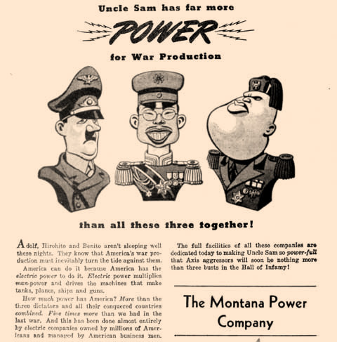 Montana Power touted the strength of America's war machine in 1942, while crediting electric power for giving the U.S. the edge.