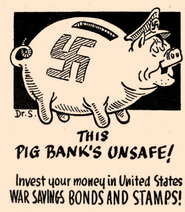To encourage investment in War Savings Bonds and Stamps, the Outlook ran this caricature drawn by Dr. Seuss in 1942.
