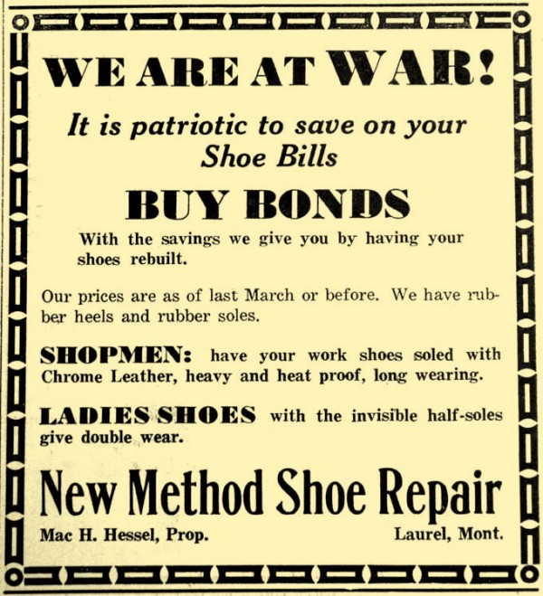 In 1942, folks could have shoes repaired or resold. New Method Shoe Repair shop claimed savings from repairing shoes could go towards war bonds.