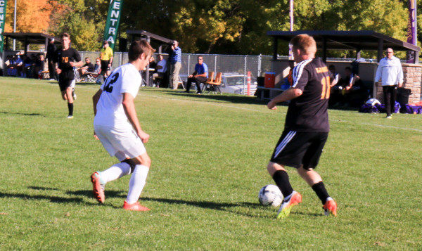 Braden McIlvain controls the ball against Central last week.