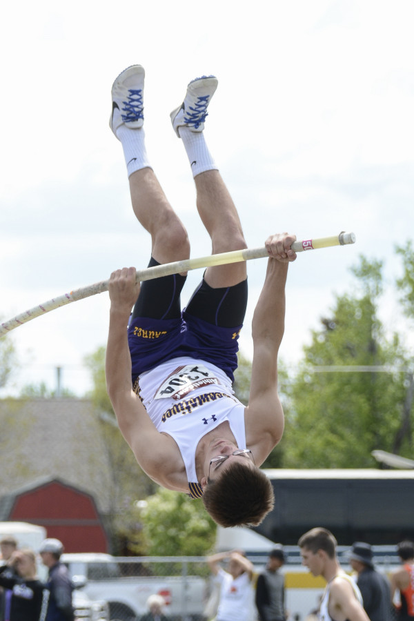 Photos by Gloria Allwin.  Laurel's Jared Craig placed sixth in the Pole Vault at the Eastern A Divisional track meet in Belgrade.