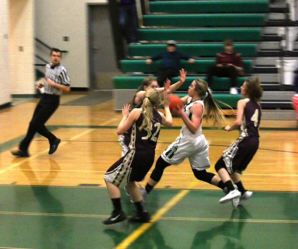 Photo courtesy of Stacie Nardinger Lady J-Hawk Tayler Wright had seven points for the home team in their win as she slashed and dashed her way into the lane on a fast break.