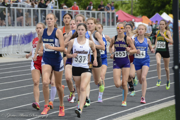 Jessica Elmer of Laurel leads the pack in the 800m finals. She placed in the top-10 in both the 800m and 1600m finals.	Photo by Gloria Allwin.