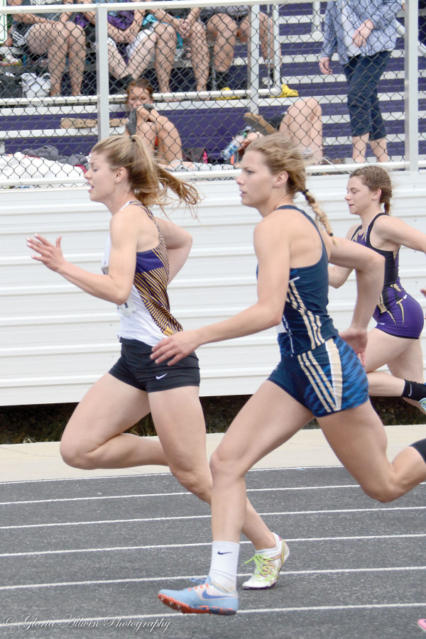 Photo by Gloria Allwin. It's a photo finish for Taylor Ludwig of Laurel as she won the state 100m by one-hundredth of a second.