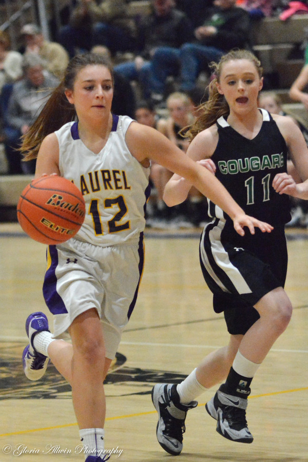 Photo courtesy of Gloria Allwin.  Future star Laurel sophomore Aspen Cotter breaks free in helping the Locomotives win two straight against Miles City and Columbus.