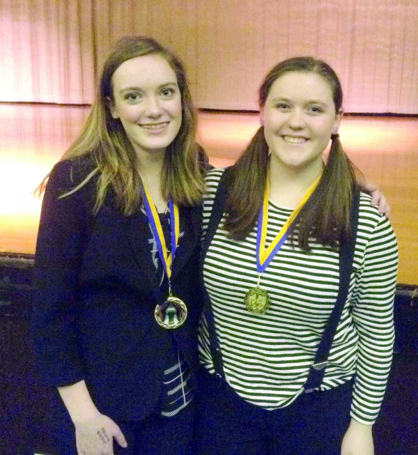 Photo courtesy of Liz Schwartz.  Humorous Interpertation and Pantomime Champions Hannah Kopp and Abigail Hillis from LHS.
