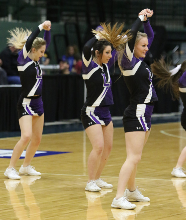 Photos courtesy of Hailey Maurer.  Laurel High School cheerleaders traveled to Butte to cheer the Lady Locomotives on.