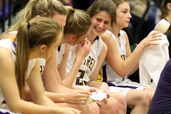 Photos courtesy of Hailey Maurer.  The Lady Locomotives took a moment on the sidelines to reflect and laugh during the tourney.