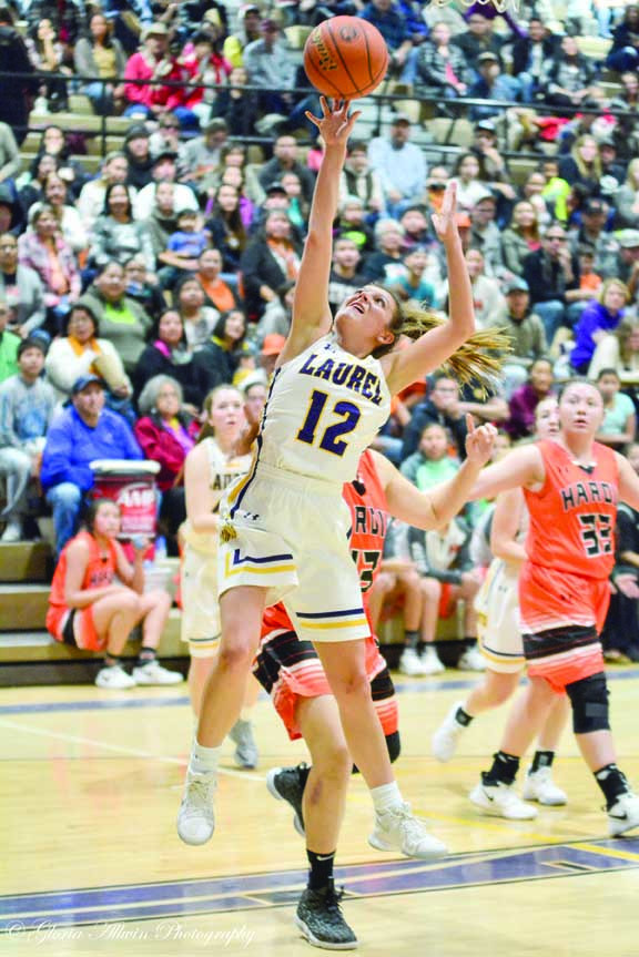 Photo by Gloria Allwin. Aspen Cotter takes a shot at the basket during last Thursday's game against Hardin. Laurel beat Hardin 60-45. The Lady Locomotives next game is at Miles City on Jan. 6.