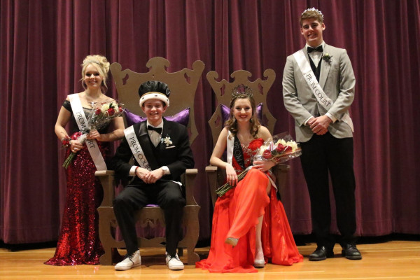 Photo by Hailey Maurer. Pictured from left, Darien McCarthy, princess, Trace Mailloux, king, Ashtyn Hoppel, queen, Andrew Botz, prince.