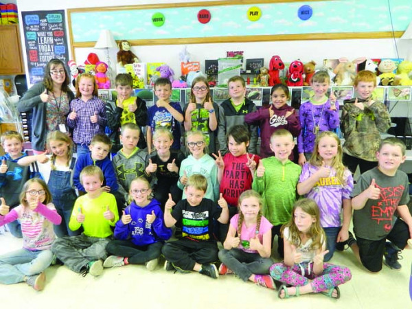 Pennies project winners. Outlook photo by Kathleen Gilluly. Students in Miss McClure's third-grade class at Graff Elementary School collected $166.90 to benefit The Leukemia and Lymphoma Society, a national non-profit organization dedicated to finding a cure for blood cancers and improving the quality of life for patients and their families. One student, Jacob Johnson, raised $100 for the cause in honor of a friend who just finished treatment for leukemia. Overall, students at West and Graff Schools raised