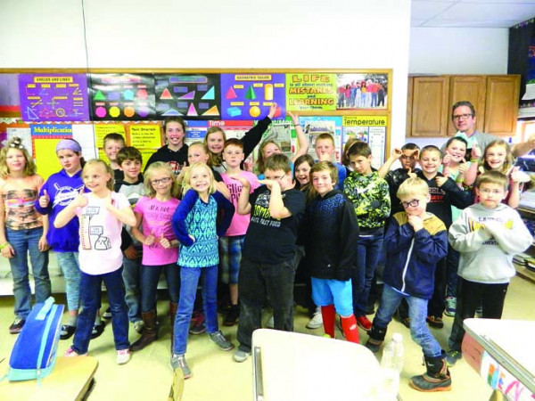 Outlook photo by Kathleen Gilluly.  Most pennies raised. Mr. McKinney's fourth-grade students at Graff Elementary School had the largest classroom total for the campaign to raise money for The Leukemia and Lymphoma Society. The students' total was $204.94. The annual campaign is organized by elementary school Counselor Kristy Savaria.