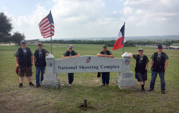From the left, Northwest College Trap and Skeet Club members Micah McClure, Michael Creel, Sasa Starkjohann, Spencer Drange, Tanner Barngrover and Connor Watson pose for a photo at the 2017 ACUI Collegiate Clay Target Championships March 28-April 2, in San Antonio, Texas.