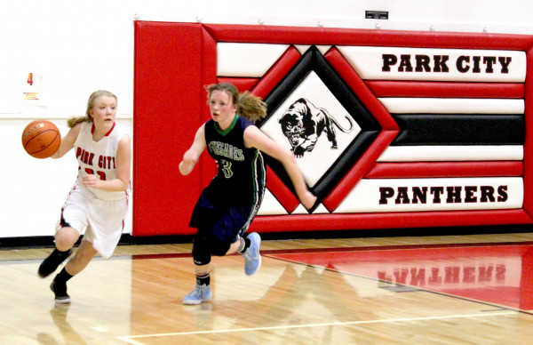 Photo courtesy of Kim Flemmer.  Bethany Van Doren makes a run up the court on Friday. The Lady Panthers won the game against the Renegades 51-37.