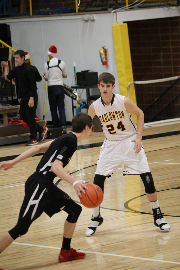 Photo courtesy of Jill Grim  Panther Connor McNeil and his team stayed close to Harlowton the entire game before eventually losing a close one 49-48 in their last game of 2016.