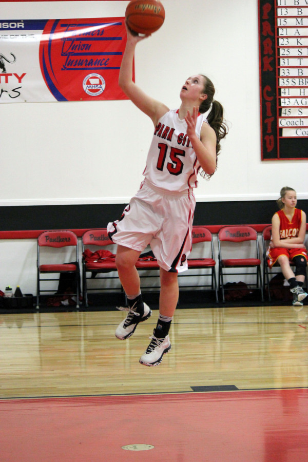 Photo courtesy of Shona Verke.  Lady Panther Miranda McNeil goes up for two in Park City's Senior Night home game against the Fromberg Falcons. The girls almost beat their opponent by 50 points in the 69-21 lopsided victory.