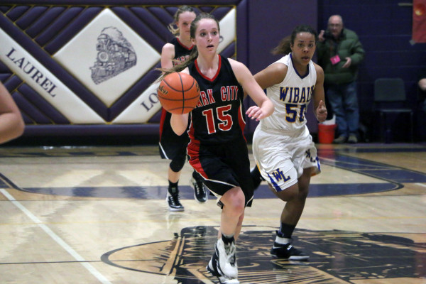 Photos by Garrett Harr.  Lady Panther MacKinzie Verke had 12 points in Park City's 47-40 win over Wibaux in the girl's 6-C tournament in Laurel last weekend.